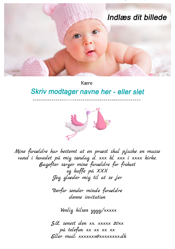 Invitationer til barnedåb