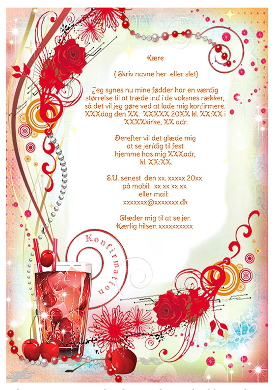 invitation til konfirmation design nr 2