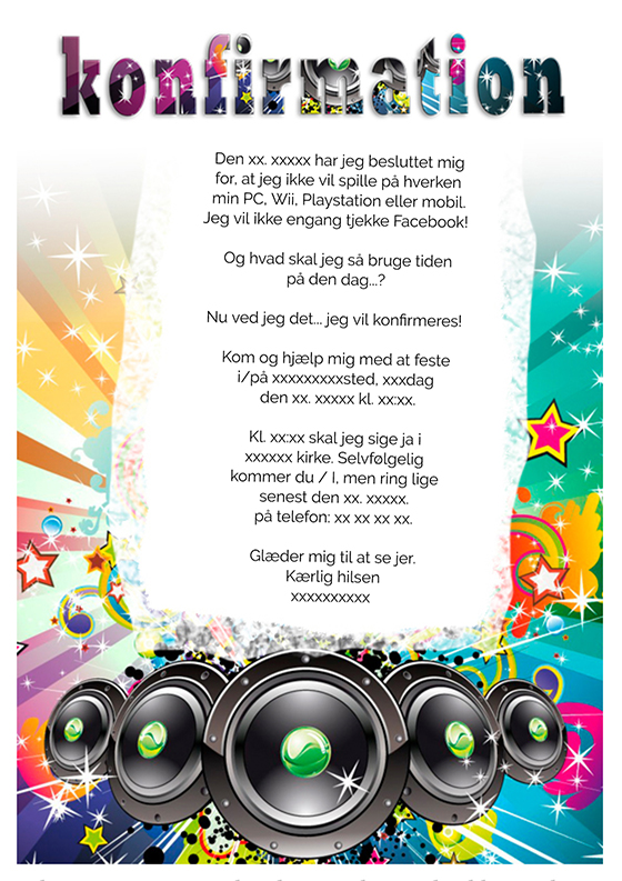invitation til konfirmation design nr 3