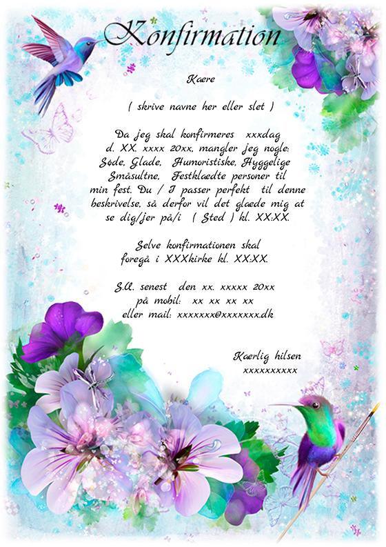 invitation til konfirmation design nr 6