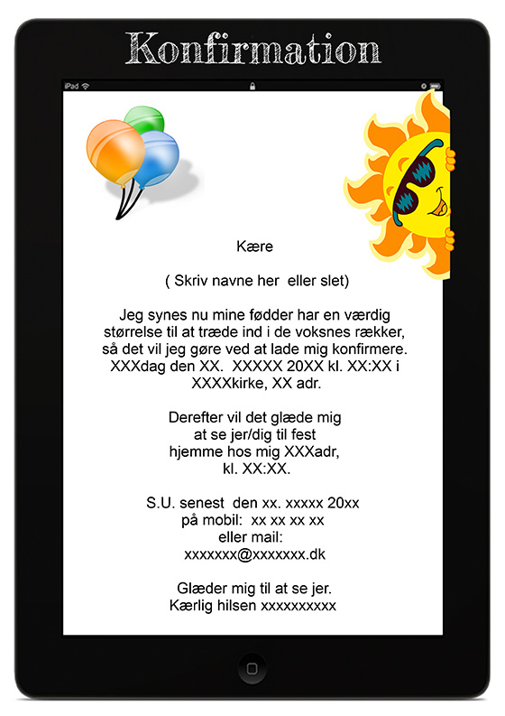 invitation til konfirmation design nr 11