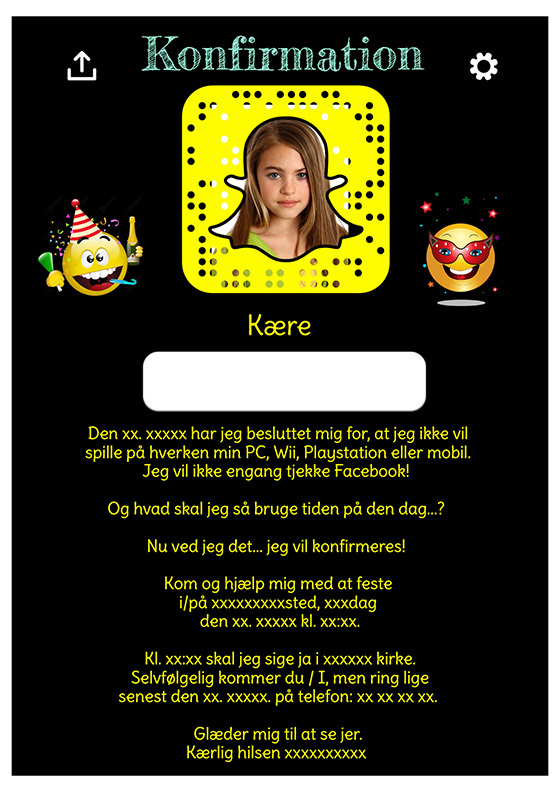 Snapchat tema til konfirmation design nr 11
